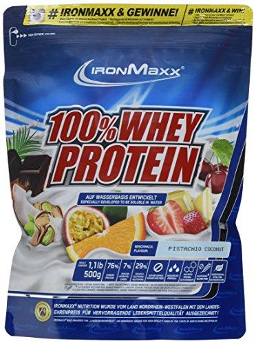 IronMaxx 100% Whey Protein / Proteinpulver auf Wasserbasis / Eiweißpulver mit Pistazie-Kokos Geschmack / 1 x 500 g Beutel Pre-post-workout-protein