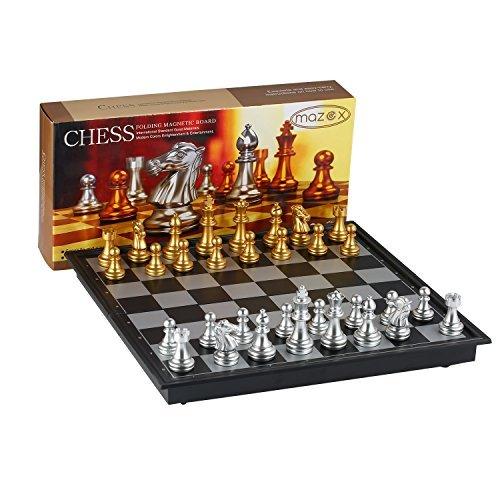 Juego de ajedrez plegable magnético para by MAZEX Juego de mesa de ajedrez para niños o adultos (9.8X9.8X0.8 Inch, Gold&Silver Chess Pieces)