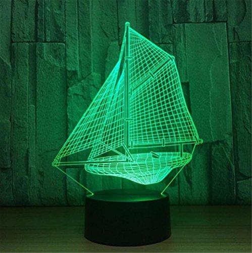 3D Nachtlicht Visualisierung Glow 7 Farbwechsel USB Touch-Taste Und Intelligente Fernbedienung Schreibtisch Tisch Beleuchtung Schönes Geschenk Home Office Dekorationen Spielzeug (Segelboot) (Fernbedienung Segelboot)