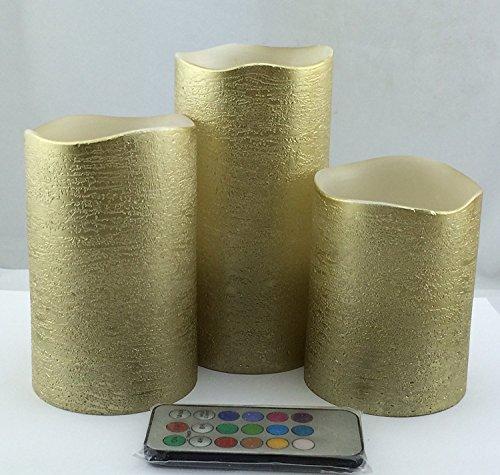 Gold Flammenlose Kerzen mit Timer, Echtwachs Farbwechsel Flicker mit rustikaler Effekt, batteriebetrieben Säule Set von 3, hoch 10,2cm 12,7cm 6inch-by Adoria