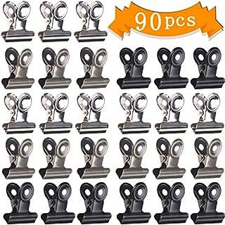 LOCOLO 90 Stück Bulldog Metallklammern Büroklammern Klammern Klammern für Bilder, Fotos, Home Office Zubehör (Schwarz, Silber, Bronze)