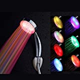 SODIAL(R) Alcachofa Ducha a Mano Colgante ABS Color Plata 8 LED Luz Bano