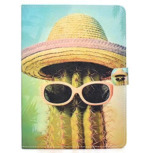 Coopay Case für iPad Pro 11 Zoll 2018,Schlank Kinder Tablet Lederhülle,Lustig Cool Kaktus Sonnenbrille Strohhut Muster Hülle,Flip Smart Cover Etui mit Auto Schlaf/Wach Funktion Ständer Schale