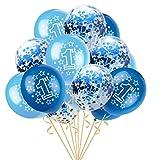 Trada Luftballons, 15pcs 12' Folie Latex Konfetti Ballon Baby Ein Jahr Alt Birthday Party für Hochzeit, Weihnachten, Geburtstagsfeiern, Hochzeitsfeiern,Blau-Rosa Licht Rosa Pflaume (D)