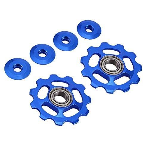 VORCOOL 2 Stücke Schaltröllchen Fahrrad Schaltwerk Riemenscheibe 11T Aluminium für Shimano (Blau) -