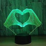 Wdj Handform 3D Lampe Touch Sensor Licht LED Nachtlicht 7 Farben Schalter LampenFernbedienung Tischlampe Kinder Nachtlicht Als Spielzeug Geschenke,D