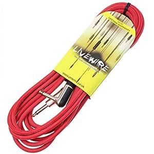 Livewire Câble de guitare prise jack vers jack coudé Rouge 6 m