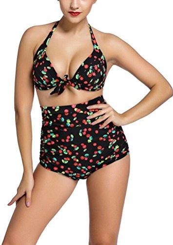 SunIfSnow donna rivestimento non cerchi raccogliere regolabile cinghie Halter Split Bikini Multicolor XX-Large
