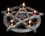 Pentagramm Teelichthalter für 5 Kerzen | Gothic Hexen Magie Altar Deko