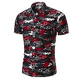 QUINTRA Persönlichkeit Männer Casual Schlank Kurzarm Printed Shirt Top Bluse (Mehrfarbig, M)