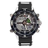 PIXNOR Wasserdichte WEIDE-WH-1104-Männer zwei-Zeitzonen-Sport-LED Digital Quarz-Armbanduhr mit Datum Stoppuhr Alarm Kautschukarmband (schwarz)