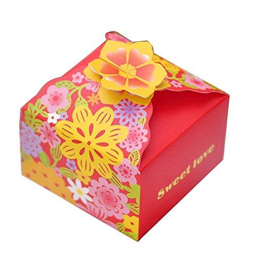 moleya 50PCS DIY Hochzeit Favor Candy Boxen Baby Dusche Geschenke Gastgeschenken Boxen, Papier, geprägt, Rot, 3.15*3.15*1.97 inch