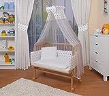 WALDIN Baby Beistellbett komplett mit Ausstattung, höhen-verstellbar, Buche Massiv-Holz natur unbehandelt,16 Modelle wählbar,Sterne grau