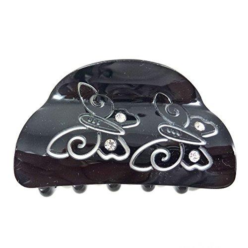 rougecaramel - Accessoires cheveux - Pince cheveux motif papillon et incrustée de cristaux - noir