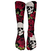 Skulls & Roses Black Knee High Graduated Compression Socks For Women And Girl - Best Medical, Nursing, Travel & Flight Socks - Running & Fitness