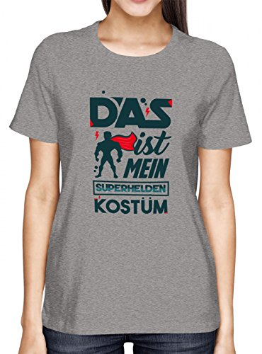 Verkleidung Superheld Premium T-Shirt | Kostüm | Karneval | Fasching | Frauen | Shirt, Farbe:Graumeliert (Grey Melange L191);Größe:S (Super Bösewicht Kostüm)