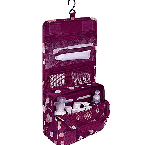 Portable Folding Travel Toiletry Wash Bag with Hook Cosmetic Makeup Bag Organizer (Red flower)