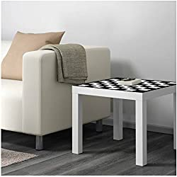 Vinilo para Mesa IKEA Lack Personalizada Tablero Ajedrez clásico Blanco y Negro   Medidas 0,55 m x 0,55 m   Vinilo Personalizado   Pegatina Decorativa de Diseño Elegante