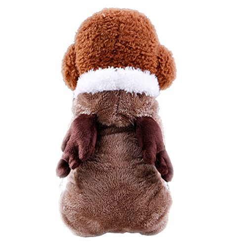 yiiquan Hund Flanell Hoodies Rentier Weihnachten Kostüm Winter Warm Puppy Pet Coat Jacke Animal Overall mit (Rentier Kostüme Hund)