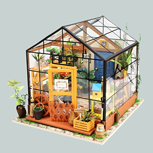 ROBOTIME DIY Wooden Miniature Dollhouse Furniture Kit Greenhouse with LED  Light-Best Birthday for Women,Men,Boyfriend,Girlfriend