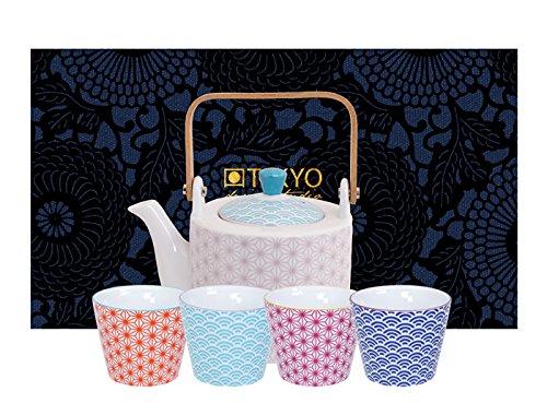 TOKYO design studio, Star Wave,Teekanne mit 4 Becher , 5-tlg., 0.8 L kanne, Porzellan Design-teekanne