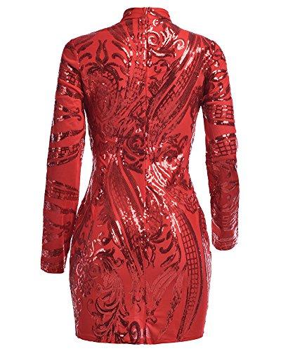 Damen Slim Kurze Pailletten Kleider Langarm Bodycon Kleid Mit Rundkragen Rot M - 5