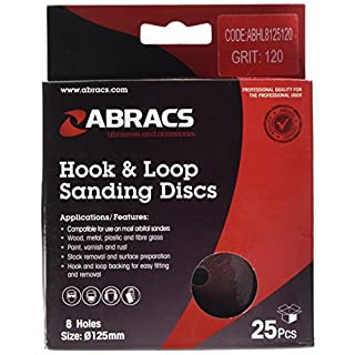 Abracs 125mm x 120g 8 Holes Hook and Loop Disc (25 Pieces)