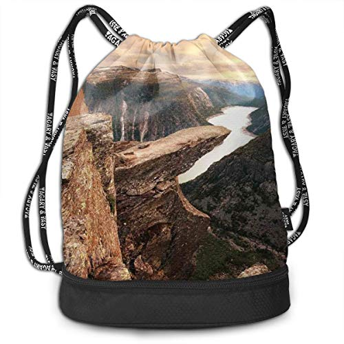 tring Backpacks Bags,Northern Mountains Canyon Landscape with Calm River In Norway Scenic Nature Tops,Adjustable String Closure ()