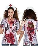Zombie Nurse T-Shirt mit 3D Druck als Horror Krankenschwester Verkleidung für Halloween One Size