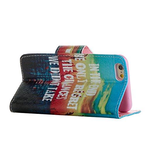MOONCASE Étui pour Apple iPhone 6 / 6S (4.7 inch) Printing Series Coque en Cuir Portefeuille Housse de Protection à rabat Case Cover LD20 LD02 #0226