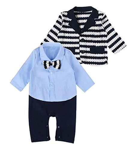 Minetom Neonati 2 Pcs Pagliaccetti Cappotti Strisce Modello Tuta Stile Casual Vestiti Dei Bambini Blu 90