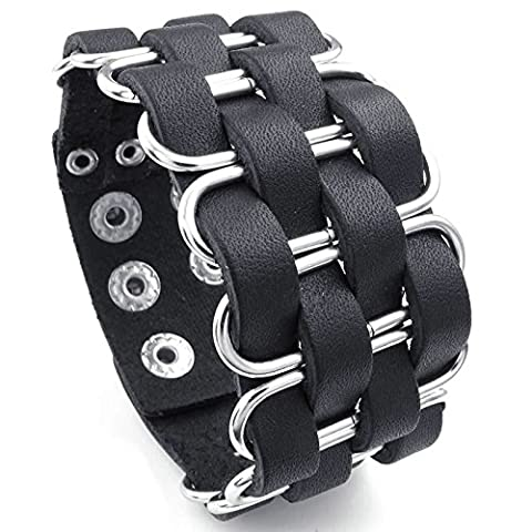Adisaer Womens Mens Braided Leather Bracelets Gold Plated Silver Black 8 IN Length Wide Wistband
