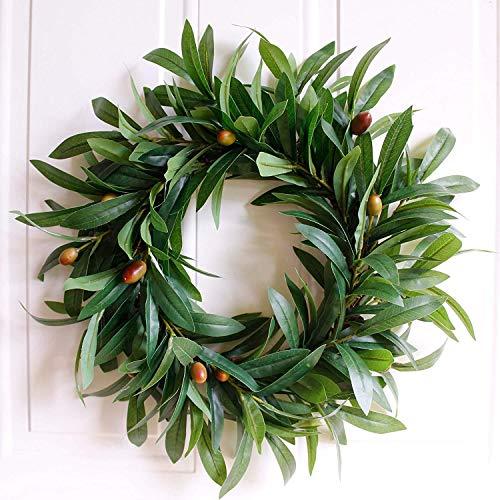 Cratone Deko Kranz künstliche Handgefertigt Olivenkranz natürlichen Reben Tür-Girlande für Hochzeits Weihnachtsschmuck Hotel Einkaufszentrum Dekoration Anhänger Kranz