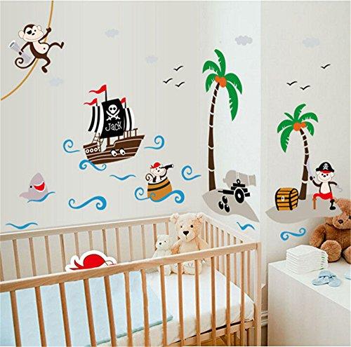 Preisvergleich Produktbild ufengke Cartoon-Piraten-Schiff Affepirat Kokos-Insel Wandsticker,Kinderzimmer Babyzimmer Entfernbare Wandtattoos Wandbilder