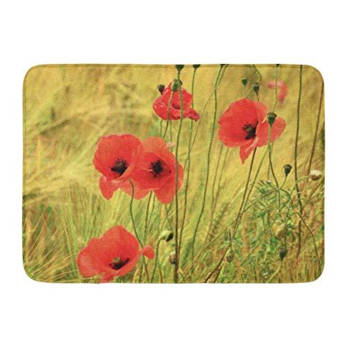 Mohn Roten Teppich (LIS HOME Badematte rote Natur Mohn Blumen Pflanze Blüte Sommer Badezimmer Dekor Teppich)