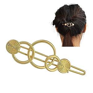 Feelontop® Minimalist Damen Accessoires Silber Gold Geometrische Kreis Haarnadel Haarschmuck mit Schmuckbeutel