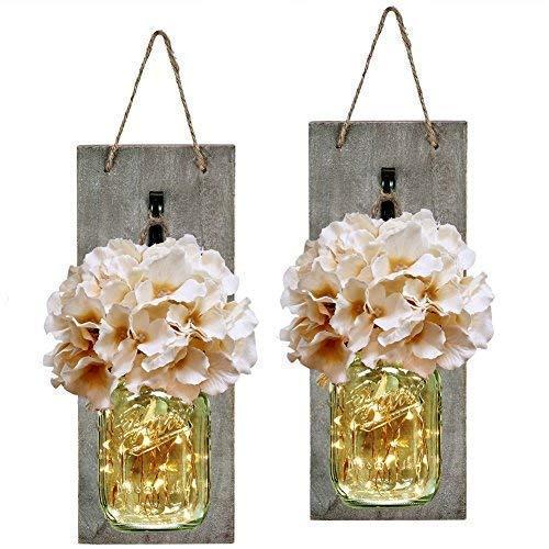 Mason Jar Sconce mit LED-Lichterkette, handgefertigt, zum Aufhängen von Einmachgläsern, Wanddeko, 2 Stück