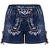 Hailys Damen Jeans Shorts Trachten Look Lederhose Oktoberfest Blue S