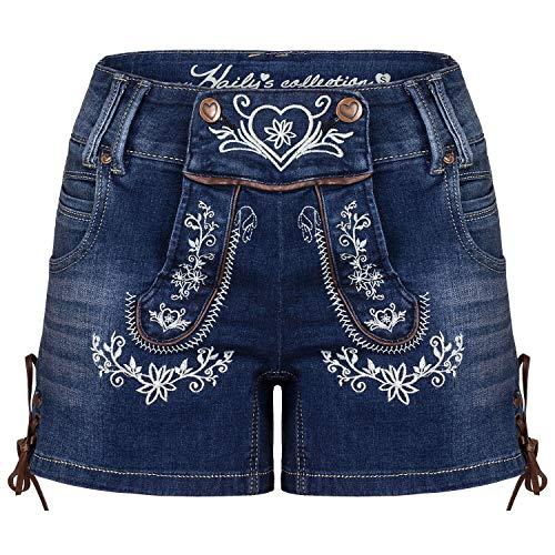 Hailys Damen Jeans Shorts Trachten Look Lederhose Oktoberfest Blue M