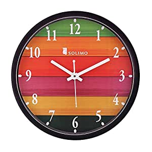 Amazon Brand - Solimo 12-inch Wall Clock - Different Strokes (Step Movement, Black Frame)