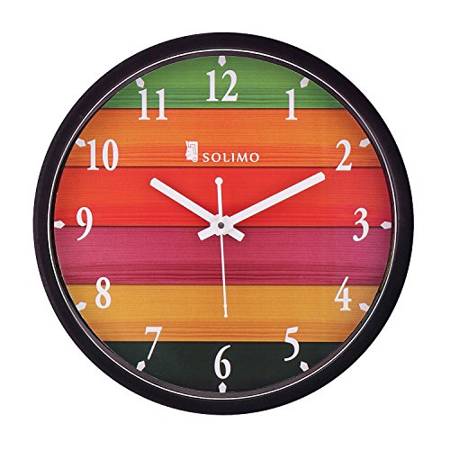 Amazon Brand - Solimo 12-inch Wall Clock - Different Strokes (Step Movement,...