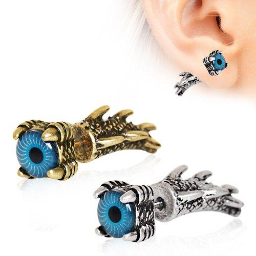 Gothic Dragon Claw Blue Evil Eye frontale dettagliata falso cono orecchino di 1,2 millimetri acciaio (Evil Eye Anello)