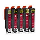 5 Druckerpatronen kompatibel zu Epson 33-XL (Magenta) passend für Epson Expression Premium XP-530 XP-540 XP-630 XP-635 XP-640 XP-645 XP-830 XP-900