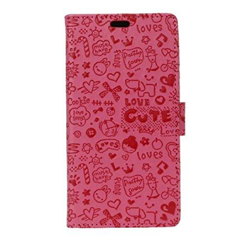 Tianqin Meizu MX6 Hülle, Leder Abdeckung Klassischer Stil Magnetverschluss Clamshell Bracket Cover Mit Kartensteckplätzen und Versteckter Tasche Imported Leder(PU) Geldbörse für Meizu MX6 - Rosa