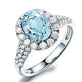 AmDxD 925 Silber Damen Ringe Oval Silberring Eheringe Damenringe Weiß Gold mit Blau Topas Gr.57 (18.1)