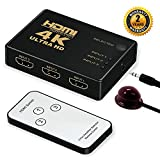 HDMI Switcher 3 Input 1 Output Switch Box Support 4K 1080P 3D with IR Remote Control for PS3 Xbox 360 Sky Box Freesat Virgin Bluray Player DVD HDTV Projector Camcorder HTPC Laptop (3 to 1)