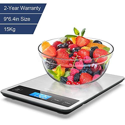 Bilancia Cucina Digitale, Homever 15kg in Acciaio Inossidabile Bilancia Cucina Pannello 9 * 6.3 Inch,Bilancia da Cucina con 5 Measuring Units e Precisione 1g