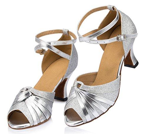 Honeystore Damen's Peep Toe mittelhohem Absatz Latein Tanzschuhe Silber - 2