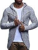 LEIF NELSON Herren Strick-Jacke mit Reißverschluss | Casual Strick-Hoodie Dünn Slim Fit | Moderner Männer Strick-Cardigan Langarm