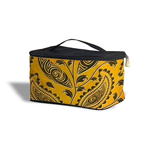 African Tribal Leaves Étui Cosmetics Storage Case maquillage cosmétique org aniser, Polyester, Yellow, One Size Cosmetics Storage Case